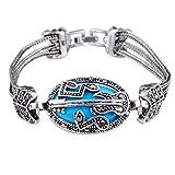Wintefei Bohemian Hollow Music Note Guitar Wristband Bracelet Bangle Women Jewelry Gift - Blue