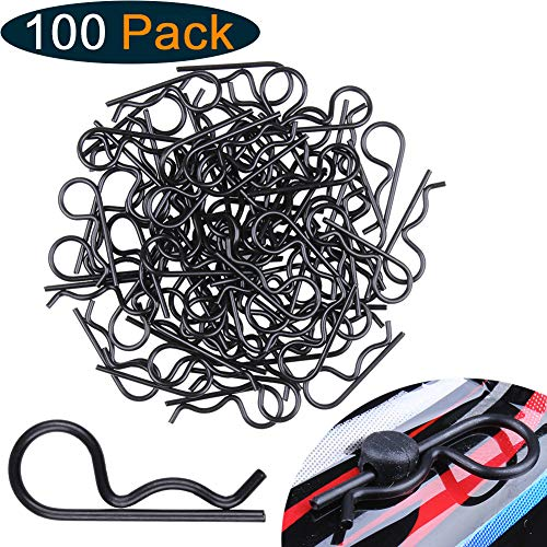 Hobbypark 100pcs Universal RC Car Body Clips Pins for Traxxas & All 1/10th Redcat HPI Himoto HSP Exceed Truck Buggy Shell Replacement Parts (Black)
