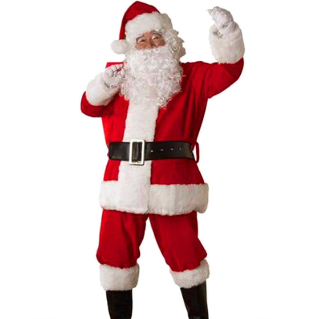 5Pcs Christmas Santa Claus Outfit Set - Mens Tops Pants Suit Belt Hat Santa Deluxe Set Holiday Costume Cosplay Clothing (Red, X-Large)