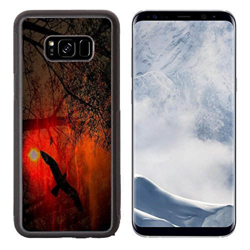 MSD Samsung Galaxy S8 Plus Aluminum Backplate Bumper Snap Case IMAGE of background black tree night halloween illustration pumpkin dark grunge october holiday nature horror ora