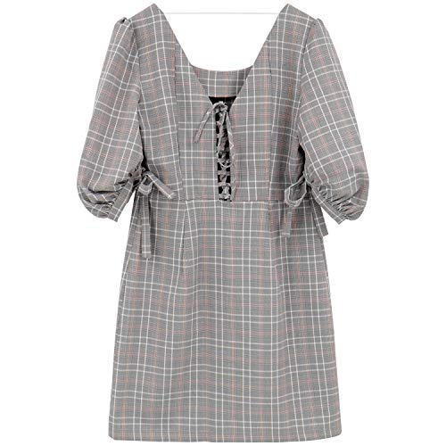 5645d0a99e Amazon.com: BARGOOS Women Gingham Mini Dress A Line 3/4 Puff Sleeves High  Waist Lace Up Back Glen Plaid Shift Skirt: Clothing