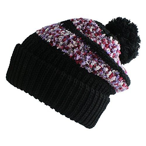 Morehats Corduroy Chenille Stripe Slouchy Beanie with Pom Pom Soft Knit Beret Winter Ski Hat - Black