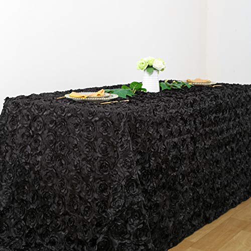 - Rectangle Black Rosette 3D Satin Tablecloth 90 x156 Inches for Ghost Festival Wedding Decoration