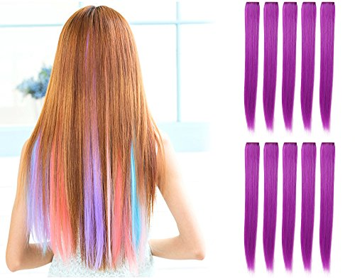 OneDor 23 Inch Colored Party Highlights Straight Hair Clip E