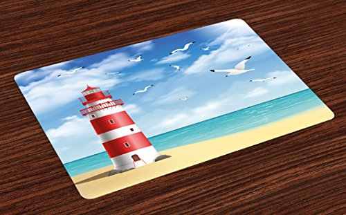 Ambesonne Beach Place Mats Set of 4, Realistic Illustration Lighthouse on Calm Seashore Flying Seagulls Ocean Scenery, Washable Fabric Placemats for Dining Room Kitchen Table Decor, Vermilion Blue - Lighthouse Place