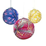 Talking Tables Cuban Fiesta Colorful Paper Lanterns Sized 8'', 10'' and 12'' for your Home Décor or Colorful Party, Pink/Yellow/Blue (6 Pack)