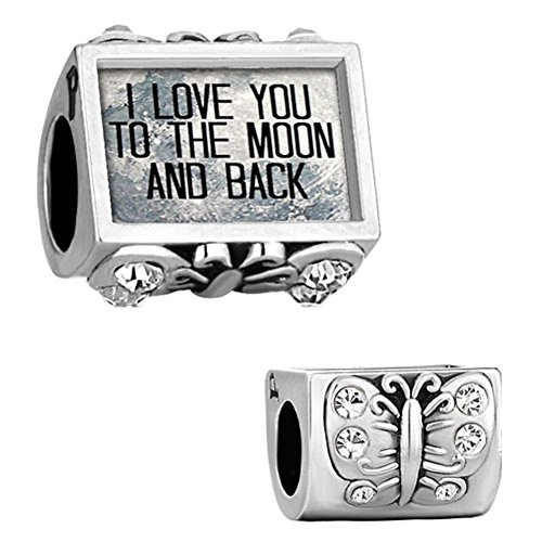 Q&Locket Jan-Dec Charms Butterfly I Love You To The Moon &Back Photo Beads For Bracelet (White)