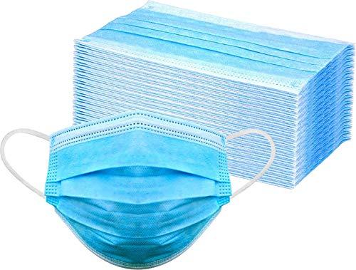 50x Einweg Gesichtsmaske aus Vlies, gegen Tröpfchen (95%), Staub- und Luftverscmutzung, Hygiene-Maske, Mund Nasen Schutz mit Ohrenschlaufen + 1x EWANTO Reinigungstuch