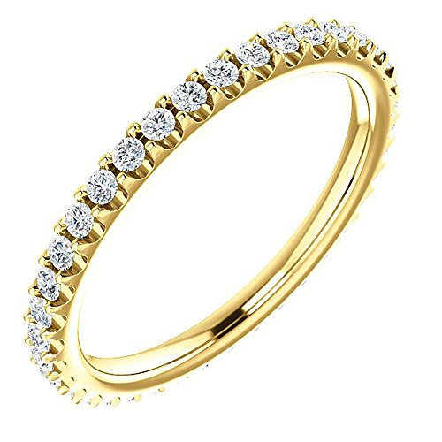 King of Jewelry Natural, Not Enhanced Eternity Wedding Band Diamond Ring F-G Color, VS1-VS2 Clarity with Proof of Authentication and Appraisal (yellow-gold, 0.50)