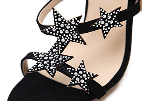 Motif Fine Talons black pour femmes Sandales Avec Avec Hauts Sandales CYGG à Hauteur 11 Spectacle Pentagram Strass Ceinture talons hauts 5cm R0xvcw7q