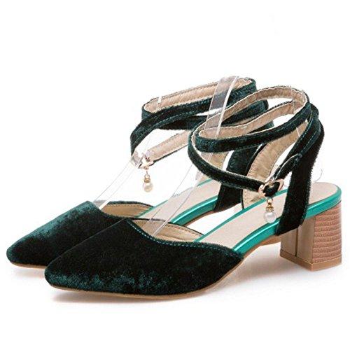 Escarpins Pointu Chaussures Green 3 Sangle Femmes Croisée TAOFFEN Chunky Bout t4HqwAHa
