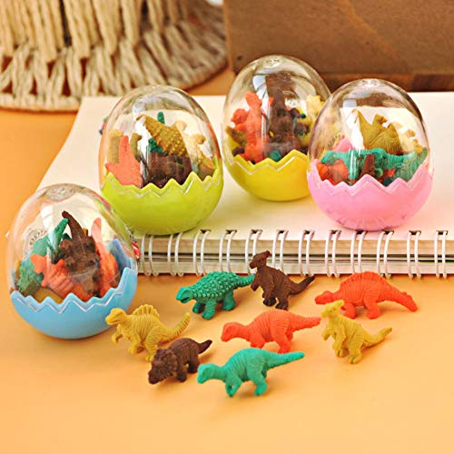 Mini Dinosaur Erasers,  48PCS Pencil Erasers Mini Rubber Erasers Educational Dinosaur Animal Toys School Supplies Animal Erasers for ()