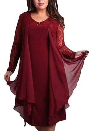 Amazon.com: GenericWomen Plus Size Fashion Chiffon Evening ...