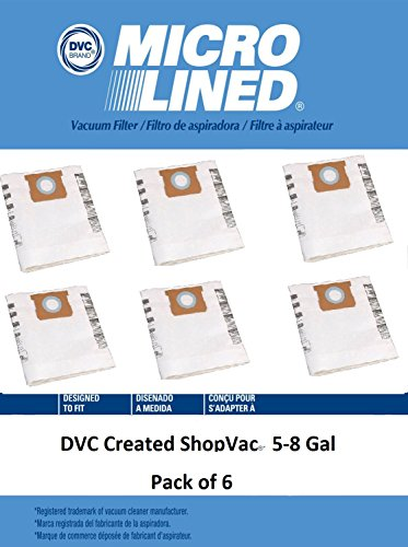 Shop Vac 5-8 Gallon Bags 6pk | Shop-Vac # 9066100 Type E | For use with Shop-Vac 5-8 Gallon Tanks with Side Inlet by DVC Products