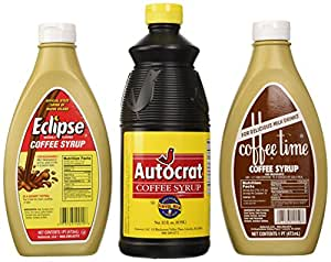 Coffee Syrup Sample Pack (1 Autocrat 32 Oz, 1 Eclipse 16 Oz and 1 Coffee Time Coffee Syrup 16 Oz)