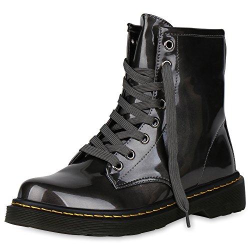 napoli-fashion Damen Stiefeletten Worker Boots Lack Profilsohle Boots Schuhe Jennika Grau Lack