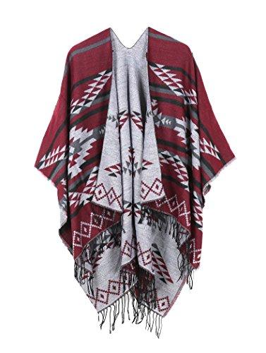 Oversized Tassel Cashmere Pashmina Shawl Knitted Poncho Sweater Red