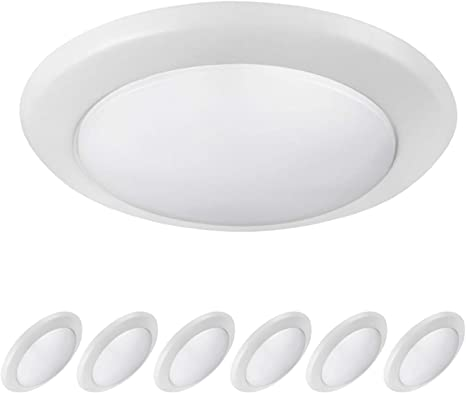 Ostwin 6 Pack 6 Inch Led Disk Light Dimmable Low Profile Ceiling Light White Finish Surface