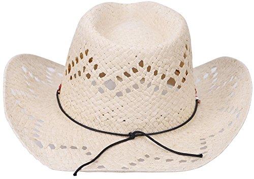AMC New Western Style Classic Cowboy Straw Hat,Beige