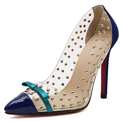 L@YC Frauen High Heels Transparente Film Niet Spitz Sandalen 11cm Absatzhöhe Blue