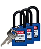 Brady 123334 Lockout Padlock, Keyed Alike, 1/4'', Blue