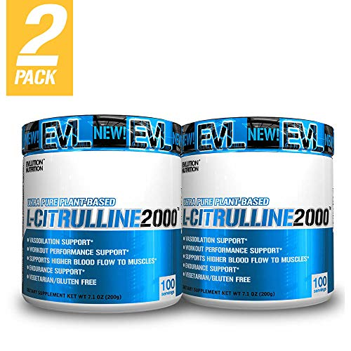 Evlution Nutrition L-Citrulline2000, Ultra-Pure Plant-Based Citrulline Powder Supplement, Enhance Muscle Strength and Vascularity, Powerful NO Booster, 100 Vegetarian Servings (2-Pack)