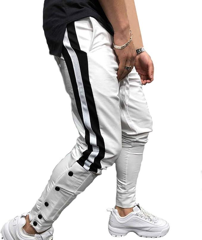 Yying Botón De Los Hombres Pantalones Jogger - Casual Gym ...