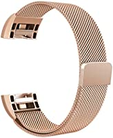 "Fitbit Charge 2 Bands Metal, Swees Milanese Loop Stainless Steel Replacement Accessories Magnetic Metal Small & Large Bands ( 5.5"" - 9.9"") for Fitbit Charge 2, Silver, Gold, Rose Gold, Black, Colorful"
