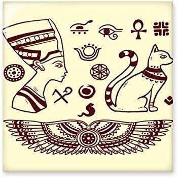 Antiguo Egipto abstracto decorativo patr/ón sacrificio arte figura de Bastet de gato negro patr/ón cord/ón mochila l/íneas finas Shopping creativa medio ambiente poli/éster bolsa de hombro bolso