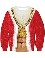 uideazone Unisex Lelijke Kerst Pullover Sweatshirts 3D Print Nieuwigheid Xmas Elf Lange Mouw Tshirt …