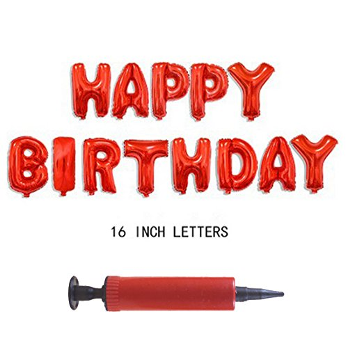 Air Pump + 16 inch Cute Colorful Alphabet Letters foil Balloons Happy Birthday Party Decoration Supplies (Red (Garland Cup Only Flat)