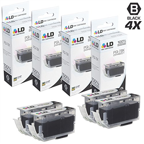 LD Compatible Ink Cartridge Replacement for Canon PGI-7Bk 2444B001 (Black, 4-Pack)