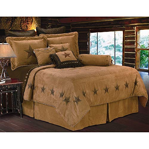 HNU 7 Pieces Faux Suede Comforter Set King, Southwestern Country Brown Bedding Luxury Embroidered Luxury Western Flair Beautiful Soft Cozy Comfy Thick Microsuede