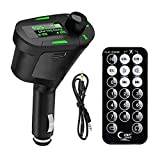 ZYHW FM Transmitter Modulator LCD Bluetooth Wireless In Car MP3 Player With USB/SD/Card Reader MMC Slot And Remote Control For iPhone Android Smart Cell Phone (green screen)