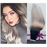 Cheap Remy Tape in Hair Extensions, Re4U 18″ Natural Color Fading to Grey Seamless Tape in Silky Straight Weft Remy Virgin Hair (18inch 20pcs/40g T#1b/grey)