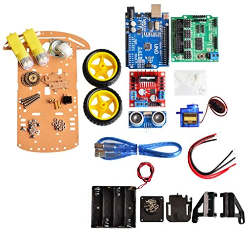 2wd Box (Avoidance tracking Motor Smart Robot Car Chassis Kit Speed Encoder Battery Box 2WD Ultrasonic module For Arduino kit)
