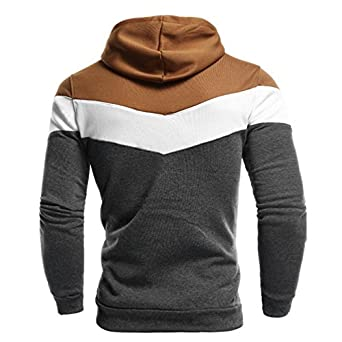 Sudadera para Hombre Jersey De Retazos Blusa con Capucha De Manga Larga Abrigo con Cord/ón
