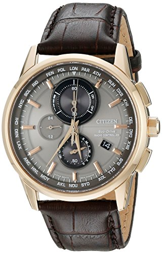 Eco Drive World Time Watch - Citizen Men's Eco-Drive World Chrono Atomic Timekeeping Watch with Day/Date, AT8113-04H