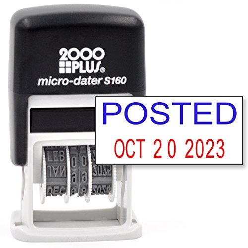 Cosco 2000 Plus Self-Inking Rubber Date Office Stamp with Posted Phrase Blue Ink & Date RED Ink (Micro-Dater 160), 12-Year Band