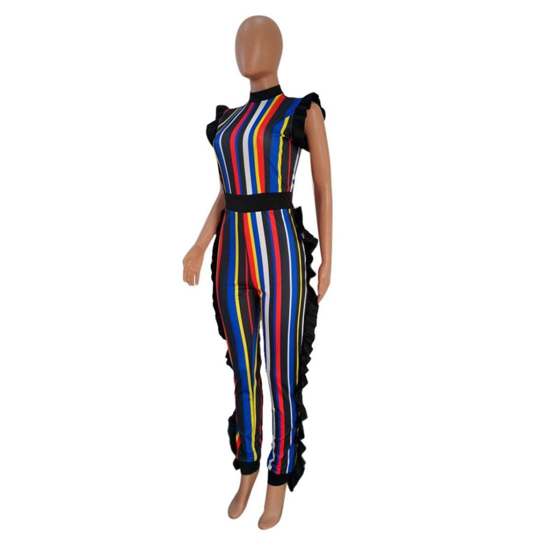 1a4a49711d5d Amazon.com  AIMTOPPY Women Summer Sleeveless Ruffled Colorful Striped Club  Party Casual Jumpsuit (L