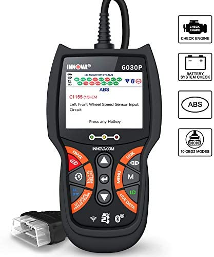 INNOVA 6030P Code Reader ABS/Check Engine Light OBD2 Scanner Live Data Diagnostic Scan Tool with Battery Test/Code Severity Levels/10 OBDII Modes/Bluetooth Available