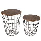 Lavish Home 80-Endtbl-2 (Set of 2) Nesting End Storage Convertible Round Metal Basket Wood Veneer Top Accent Side Tables, Black