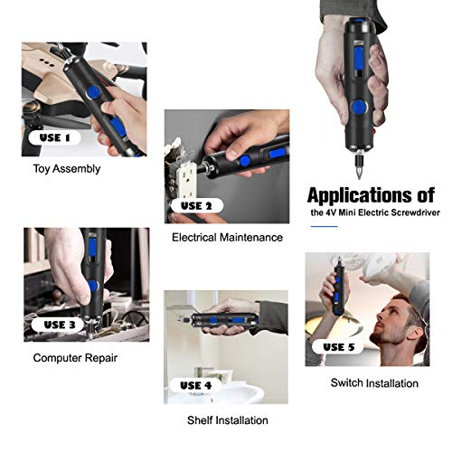 Rechargeable 4V Cordless Screwdriver, PROSTORMER Palm-sized Electric Screwdriver 1500mAh Lithium-Ion with LED Light, 33-Piece Bit Set Free Accessories and USB Charging Cable