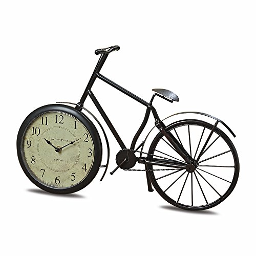 The Grand Tour Bicycle Clock, Analog Time Piece, Handcrafted of Bent and Welded Bronze Iron, 19 ¾ L, 1 AA Battery (Not Included,) By Whole House Worlds World Time Tabletop Clocks