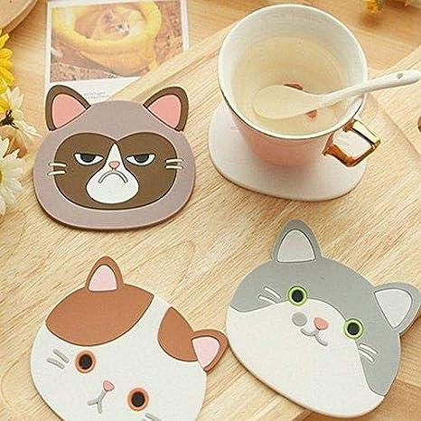 Jeffyo - Posavasos de silicona con diseño de gato y dibujos animados para café, taza