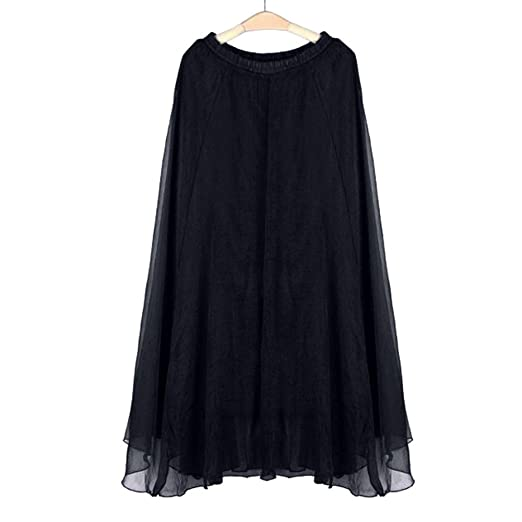 e2553a827b DEATU Clearance Women Maxi Skirts Ladies Girls Elastic Waist Chiffon Long  Beach Dress (Black ,