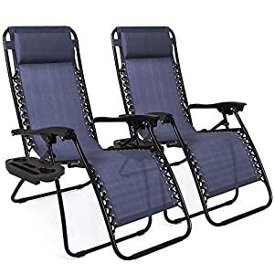 Best Choice Products Set of 2 Adjustable Zero Gravity Lounge Chair Recliners for Patio, Pool w/Cup Holders – Blue