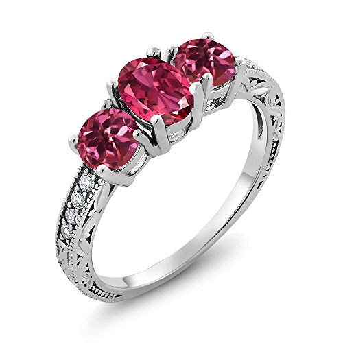 Gem Stone King 1.97 Ct Oval Pink Tourmaline 925 Sterling Silver Ring (Size - Tourmaline Gemstone Ring