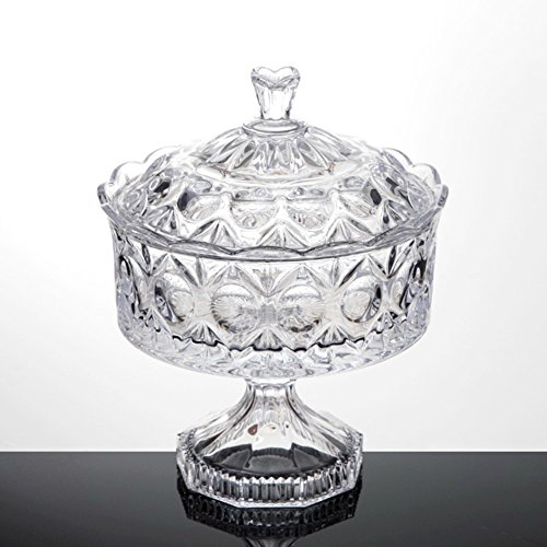 Crystal Berry Bowl (European crystal glass fruit bowl with lid/Creative fruit tray high living room modern candy dish/ dried fruit tray-A)