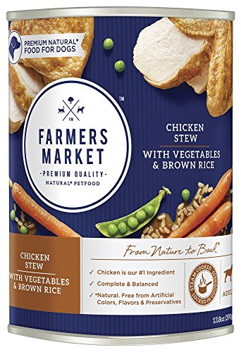 Farmers Market Pet Food Premium Natural Canned Wet Dog Food, 13.8 Oz Can, Chicken With Vegetables & Brown Rice Stew (Case Of 12)